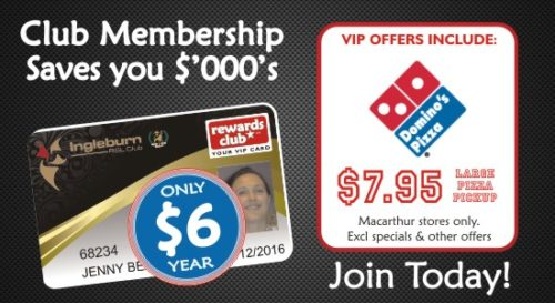 Ingleburn RSL | Membership | Rewards Card Dominos